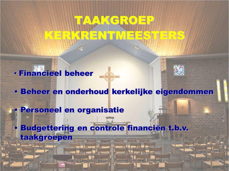TAAKGROEP KERKRENTMEESTERS Financieel beheer