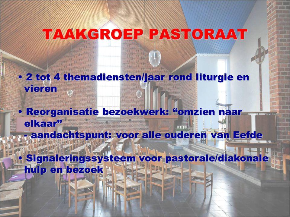 TAAKGROEP PASTORAAT 2 tot 4 themadiensten/jaar rond liturgie en vieren