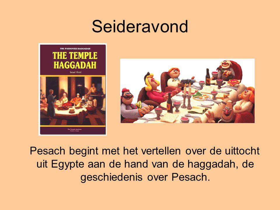 Seideravond Pesach begint met het vertellen over de uittocht uit Egypte aan de hand van de haggadah, de geschiedenis over Pesach.
