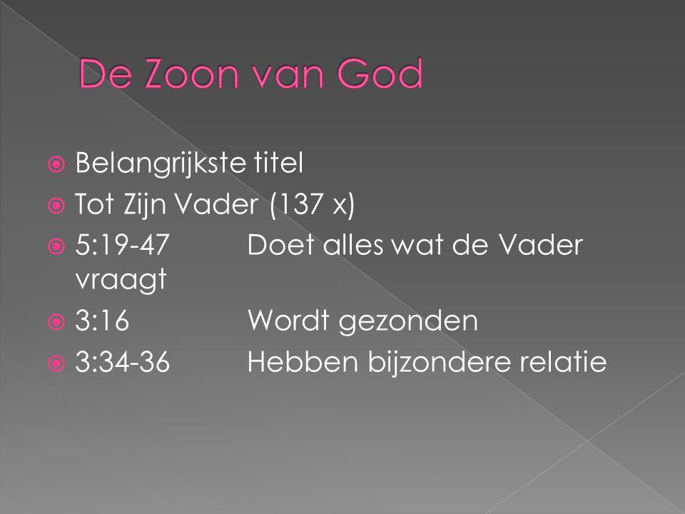 De Zoon van God Belangrijkste titel Tot Zijn Vader (137 x)