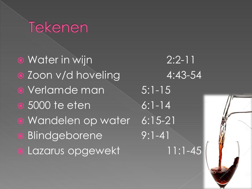 Tekenen Water in wijn 2:2-11 Zoon v/d hoveling 4:43-54