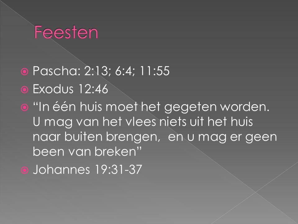 Feesten Pascha: 2:13; 6:4; 11:55 Exodus 12:46