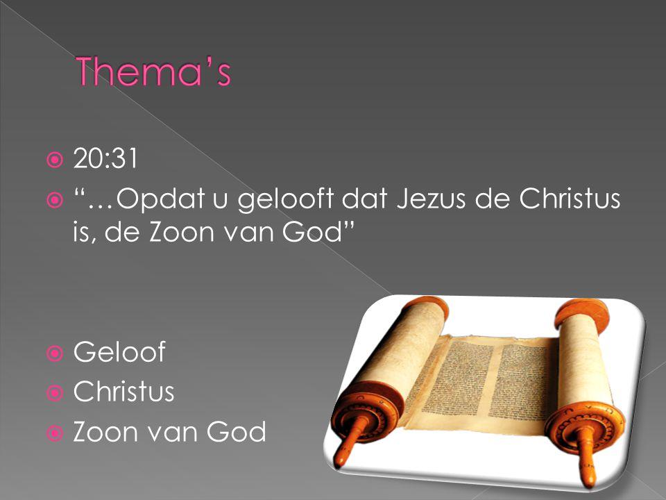 Thema's 20:31. …Opdat u gelooft dat Jezus de Christus is, de Zoon van God Geloof.