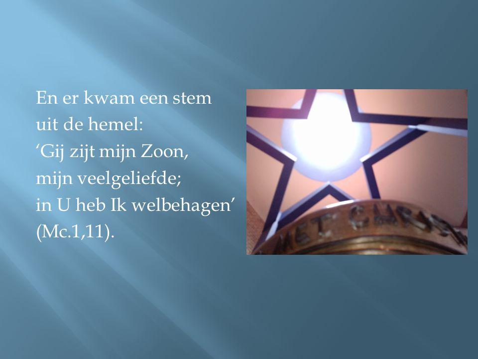En er kwam een stem uit de hemel: 'Gij zijt mijn Zoon, mijn veelgeliefde; in U heb Ik welbehagen' (Mc.1,11).
