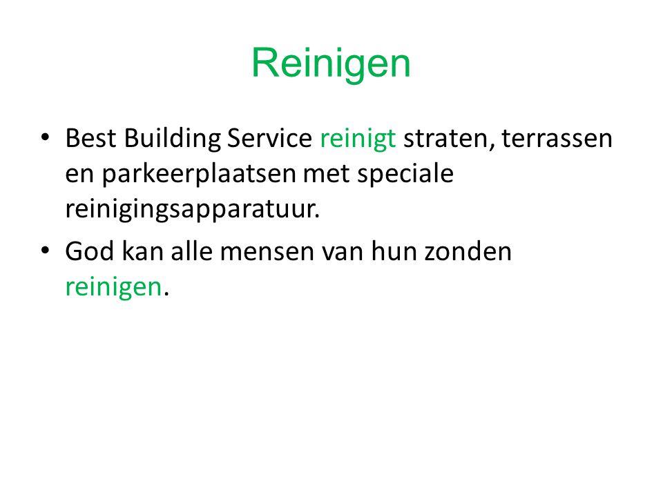 Reinigen Best Building Service reinigt straten, terrassen en parkeerplaatsen met speciale reinigingsapparatuur.