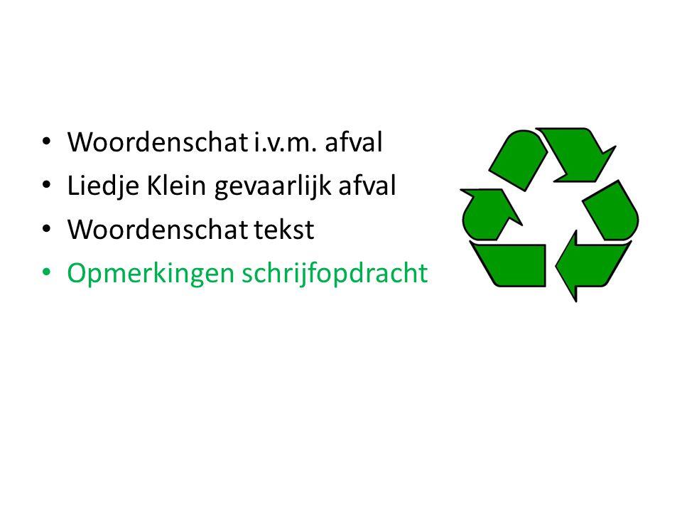 Woordenschat i.v.m. afval
