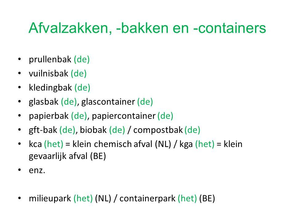 Afvalzakken, -bakken en -containers