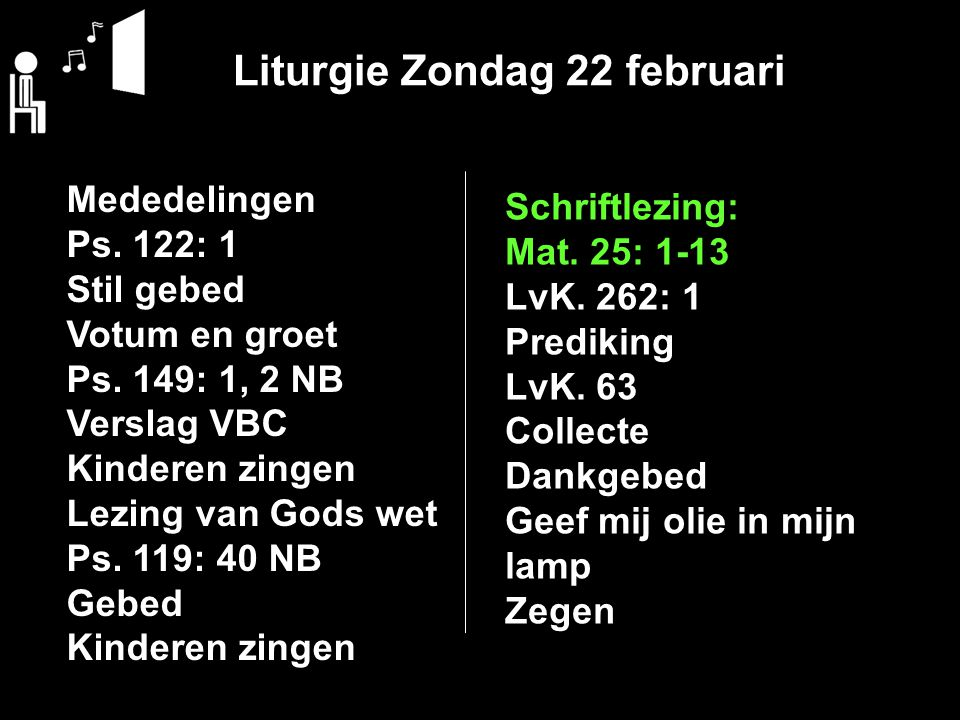 Liturgie Zondag 22 februari