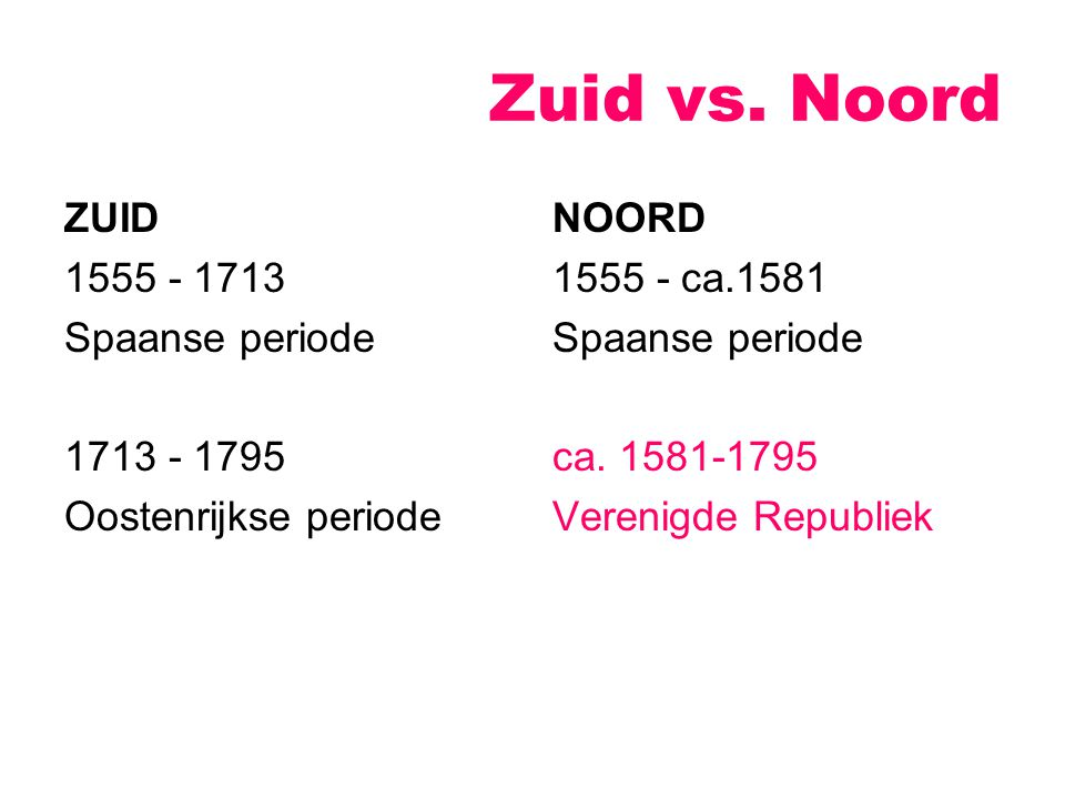 Zuid vs. Noord ZUID 1555 - 1713 Spaanse periode 1713 - 1795