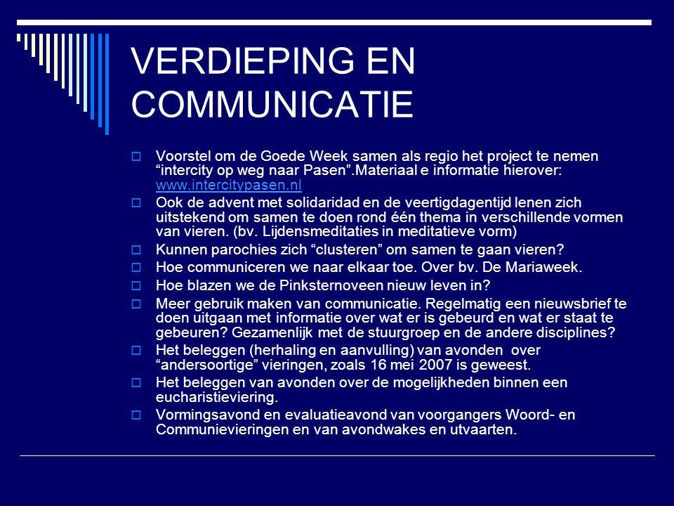 VERDIEPING EN COMMUNICATIE