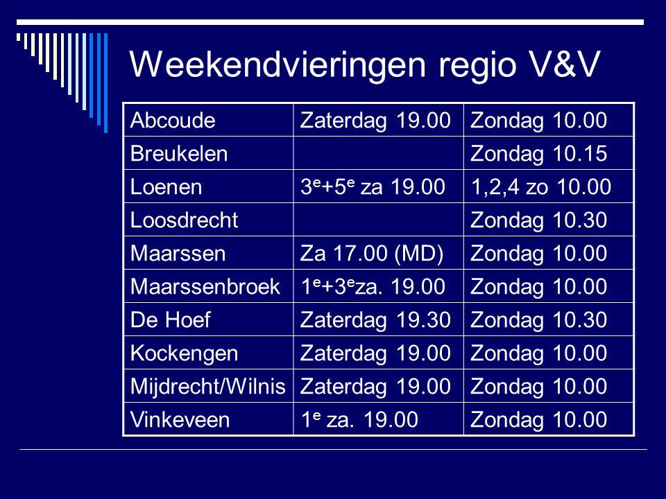 Weekendvieringen regio V&V
