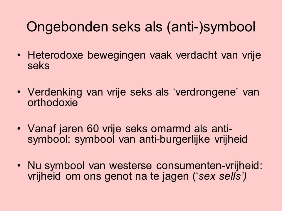 Ongebonden seks als (anti-)symbool