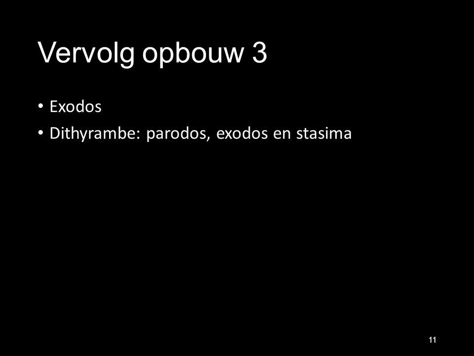Vervolg opbouw 3 Exodos Dithyrambe: parodos, exodos en stasima