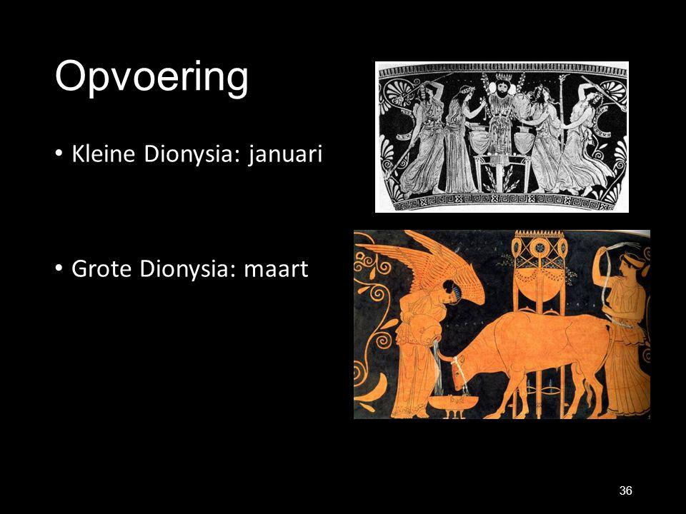 Opvoering Kleine Dionysia: januari Grote Dionysia: maart