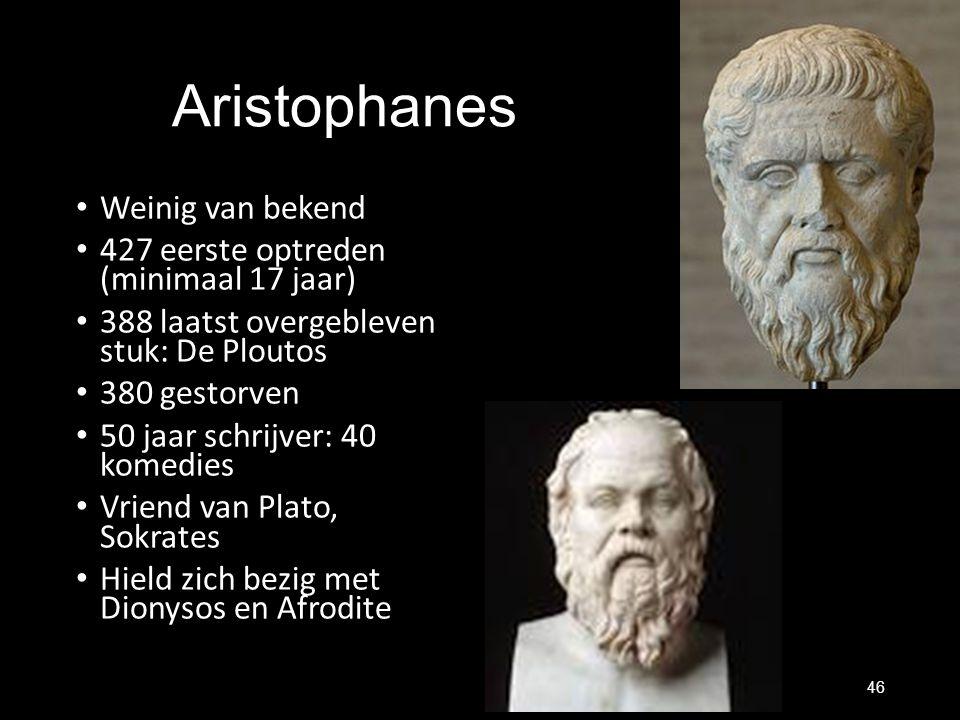 Aristophanes Weinig van bekend 427 eerste optreden (minimaal 17 jaar)