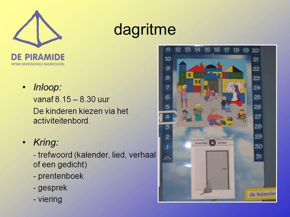 dagritme Inloop: Kring: De kinderen kiezen via het activiteitenbord.