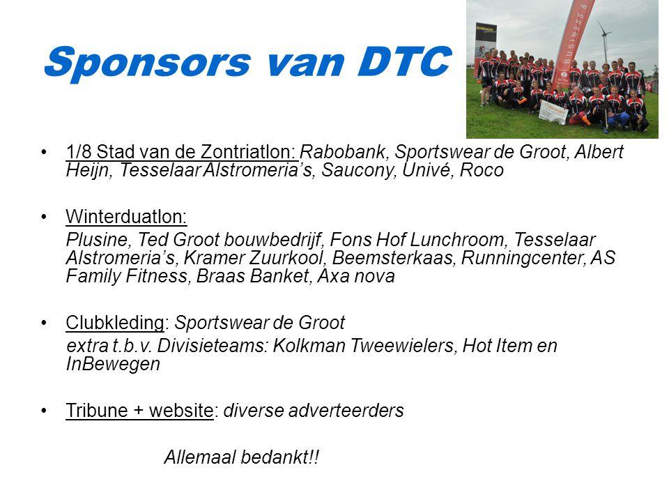 Sponsors van DTC 1/8 Stad van de Zontriatlon: Rabobank, Sportswear de Groot, Albert Heijn, Tesselaar Alstromeria's, Saucony, Univé, Roco.