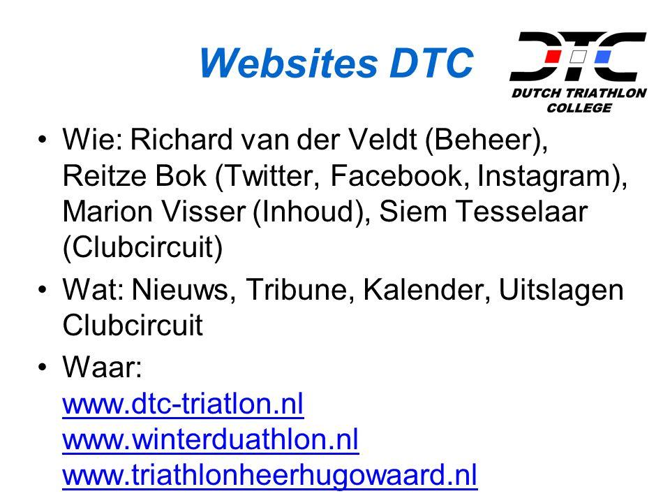 Websites DTC Wie: Richard van der Veldt (Beheer), Reitze Bok (Twitter, Facebook, Instagram), Marion Visser (Inhoud), Siem Tesselaar (Clubcircuit)