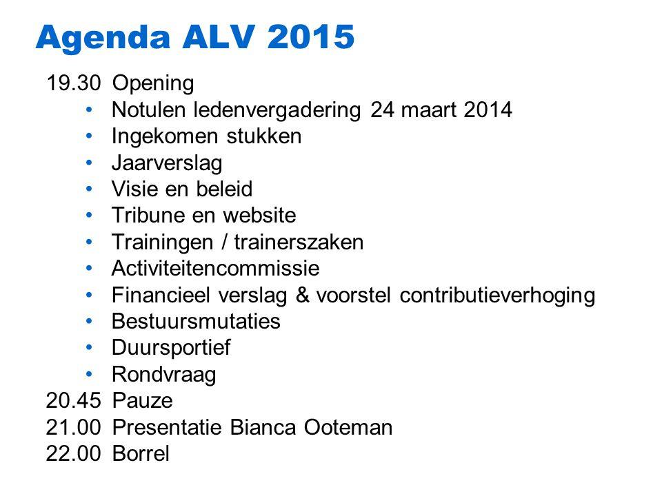 Agenda ALV 2015 19.30 Opening Notulen ledenvergadering 24 maart 2014
