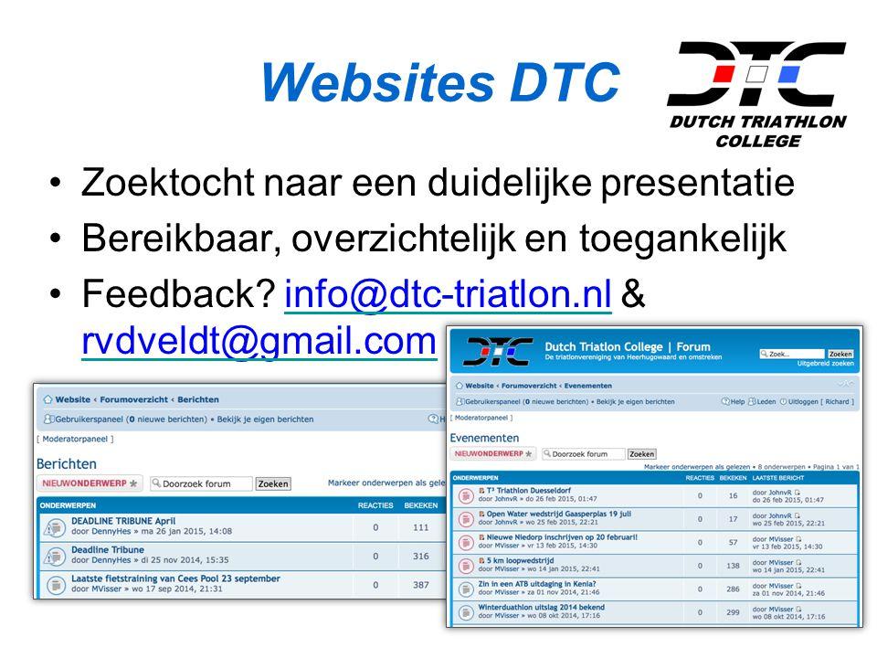 Websites DTC Zoektocht naar een duidelijke presentatie