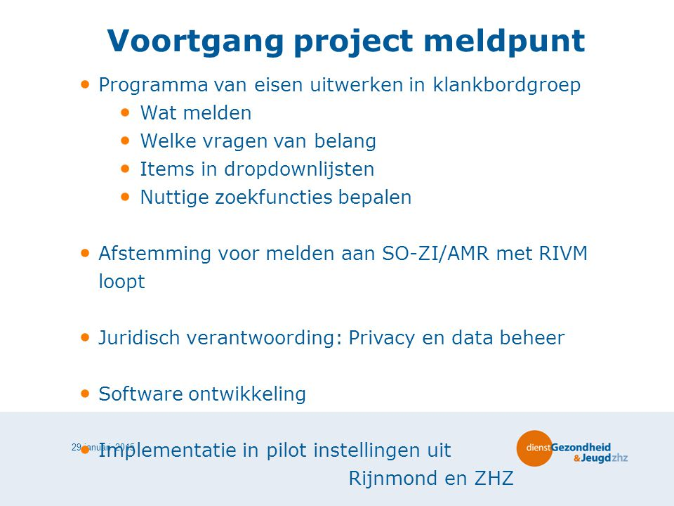 Voortgang project meldpunt