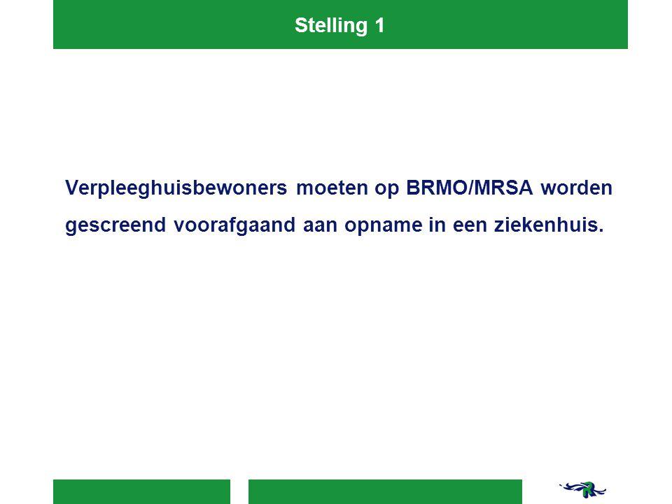 Stelling 1 Verpleeghuisbewoners moeten op BRMO/MRSA worden gescreend voorafgaand aan opname in een ziekenhuis.
