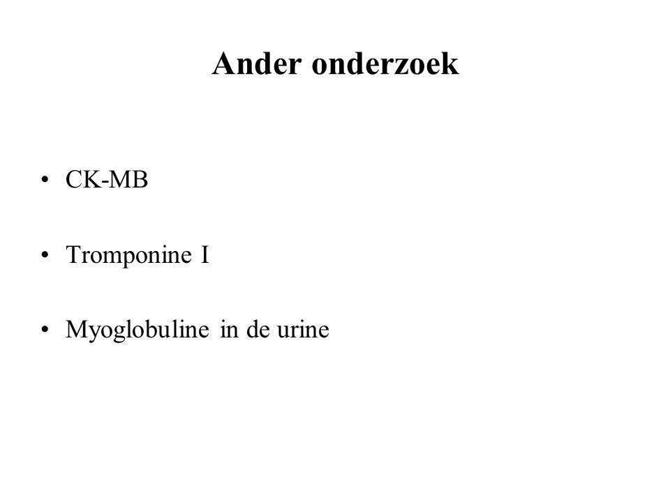 Ander onderzoek CK-MB Tromponine I Myoglobuline in de urine
