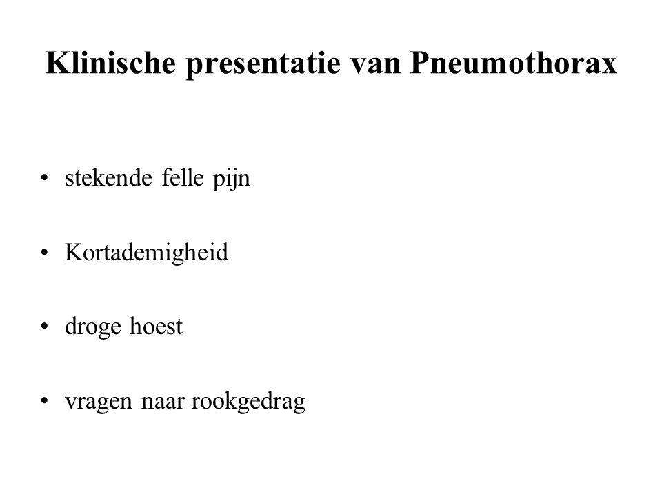 Klinische presentatie van Pneumothorax