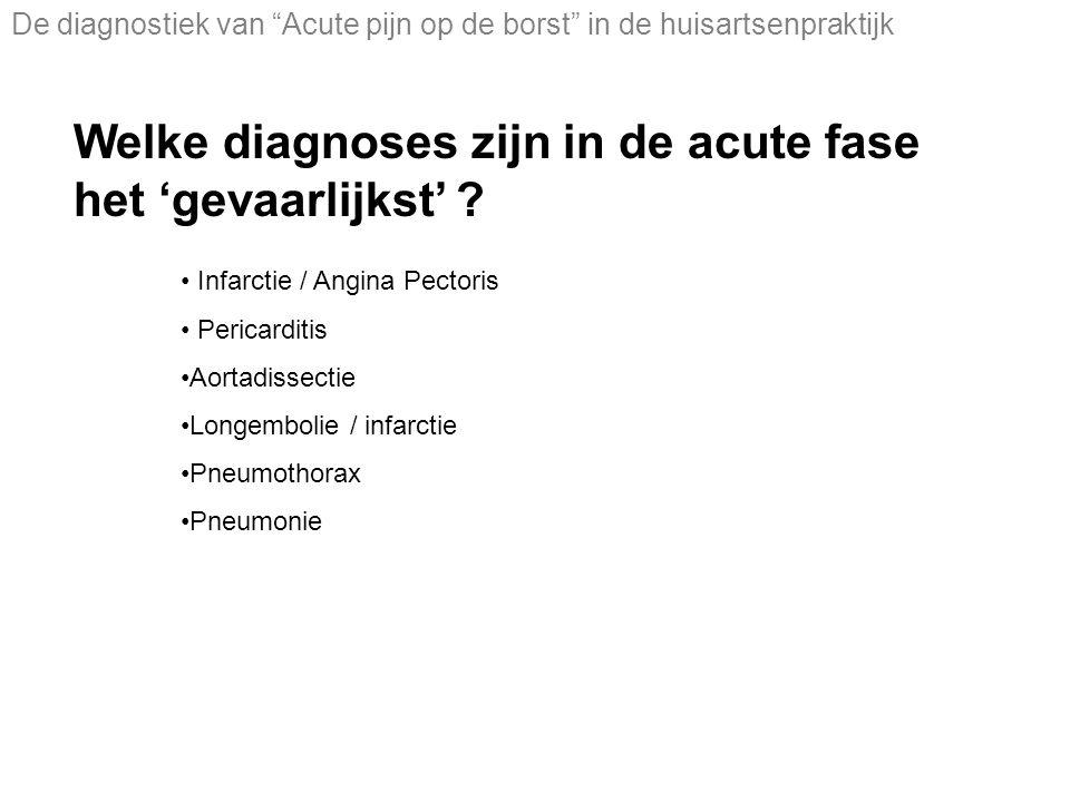 Welke diagnoses zijn in de acute fase het 'gevaarlijkst'