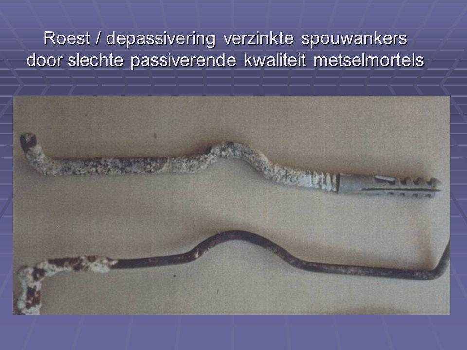 Roest / depassivering verzinkte spouwankers door slechte passiverende kwaliteit metselmortels