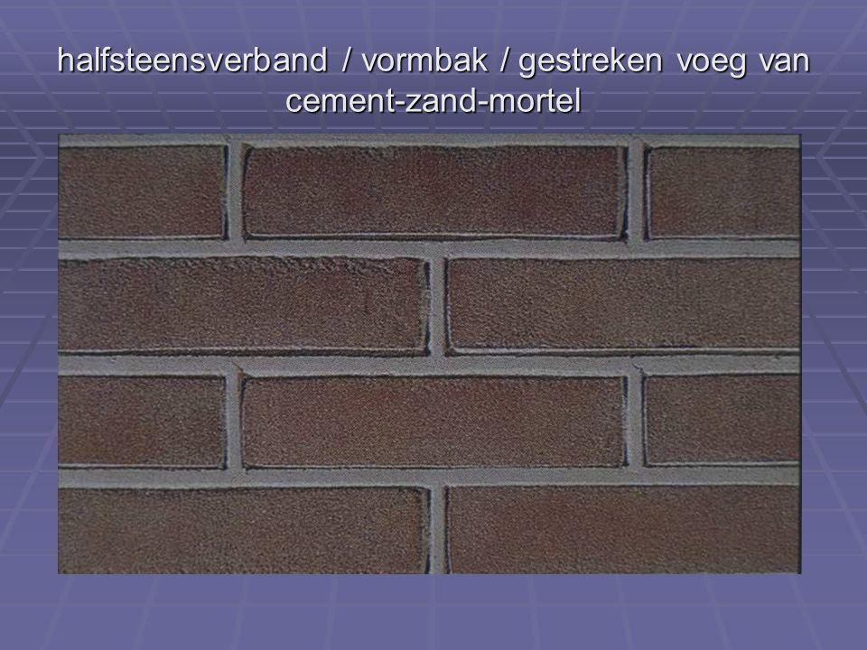 halfsteensverband / vormbak / gestreken voeg van cement-zand-mortel