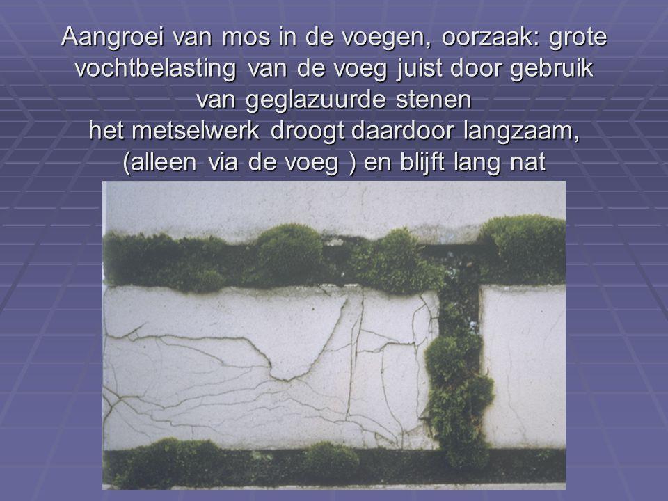 Aangroei van mos in de voegen, oorzaak: grote vochtbelasting van de voeg juist door gebruik van geglazuurde stenen het metselwerk droogt daardoor langzaam, (alleen via de voeg ) en blijft lang nat