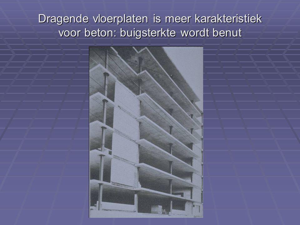 Dragende vloerplaten is meer karakteristiek voor beton: buigsterkte wordt benut