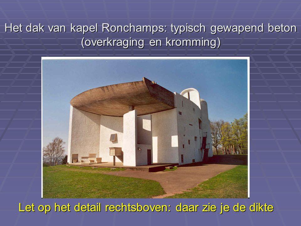 Het dak van kapel Ronchamps: typisch gewapend beton (overkraging en kromming)