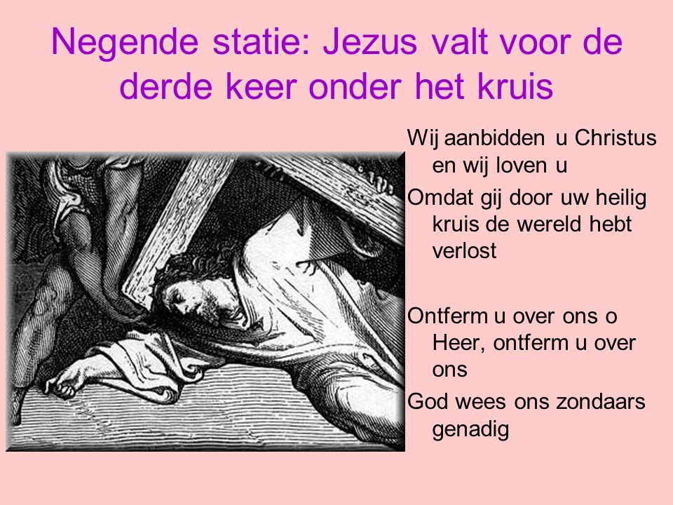 Negende statie: Jezus valt voor de derde keer onder het kruis