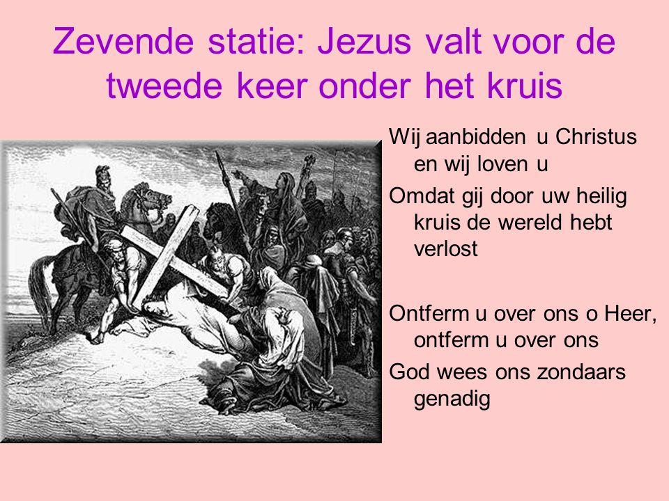 Zevende statie: Jezus valt voor de tweede keer onder het kruis