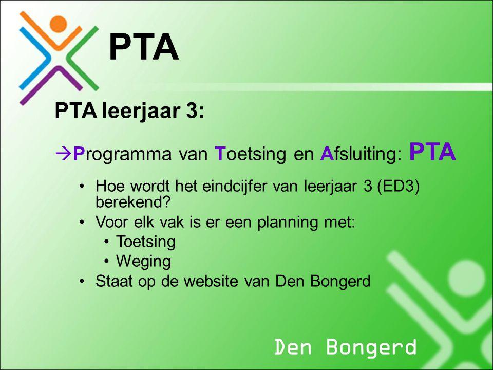 PTA PTA leerjaar 3: Programma van Toetsing en Afsluiting: PTA