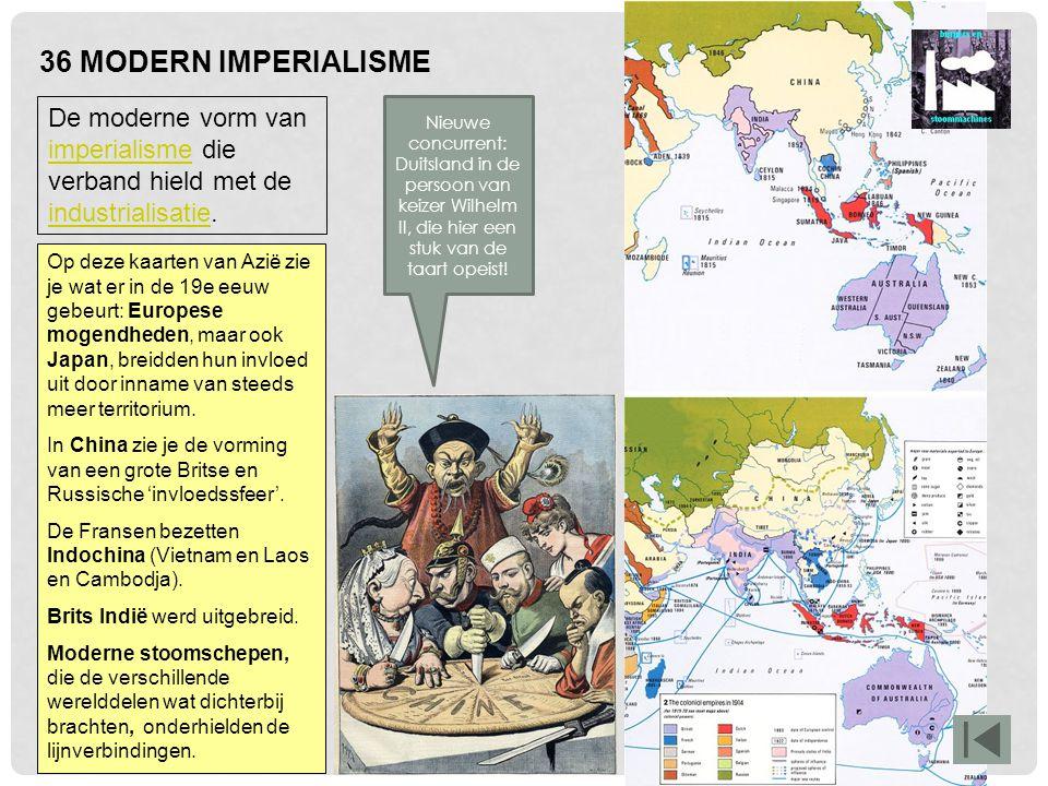 36 MODERN IMPERIALISME De moderne vorm van imperialisme die verband hield met de industrialisatie.
