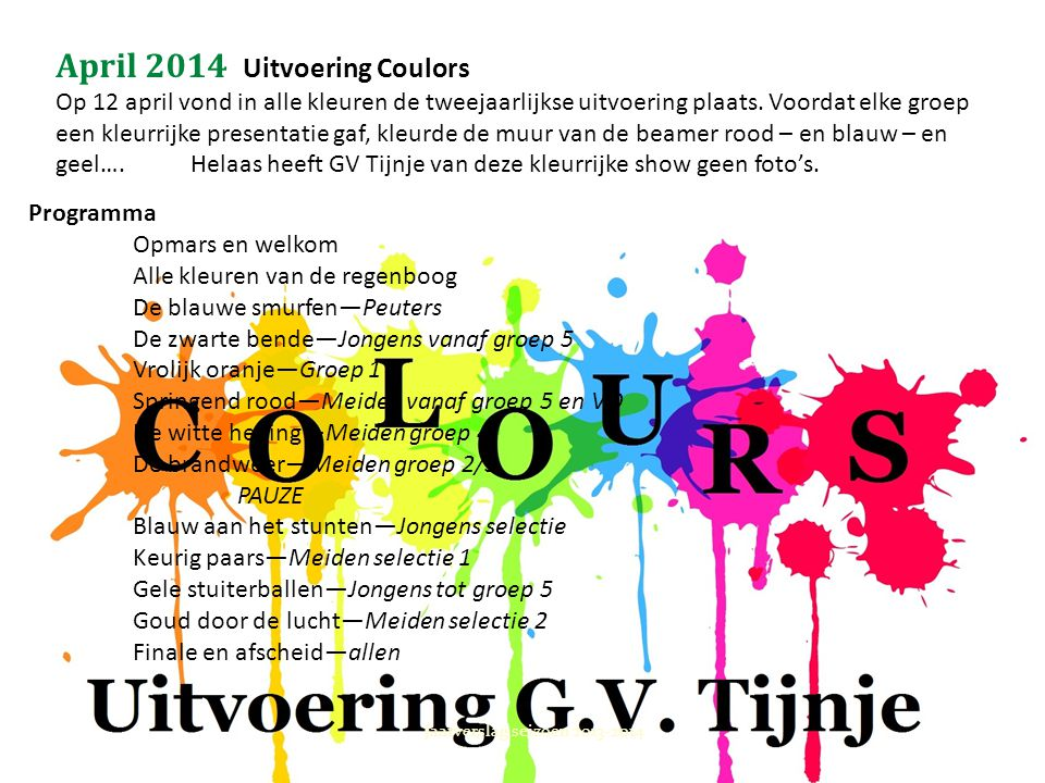April 2014 Uitvoering Coulors