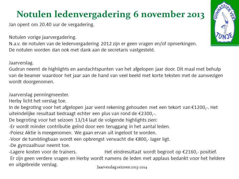 Notulen ledenvergadering 6 november 2013