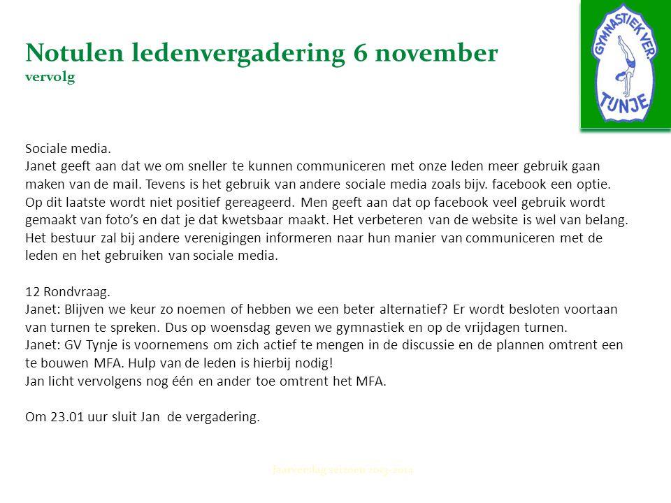 Notulen ledenvergadering 6 november