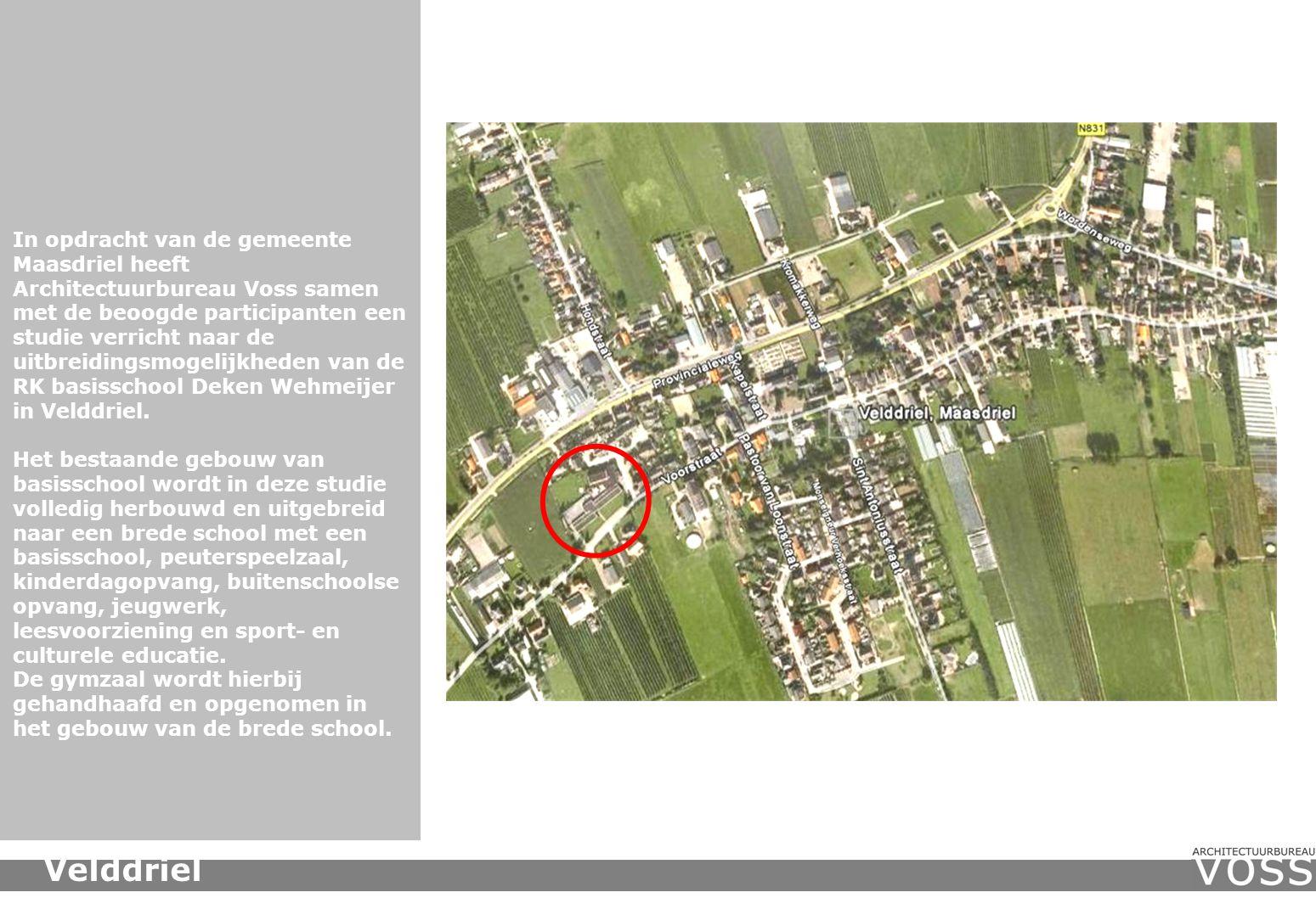 In opdracht van de gemeente Maasdriel heeft Architectuurbureau Voss samen met de beoogde participanten een studie verricht naar de uitbreidingsmogelijkheden van de RK basisschool Deken Wehmeijer in Velddriel.