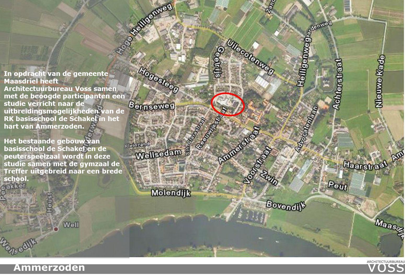 In opdracht van de gemeente Maasdriel heeft Architectuurbureau Voss samen met de beoogde participanten een studie verricht naar de uitbreidingsmogelijkheden van de RK basisschool de Schakel in het hart van Ammerzoden.