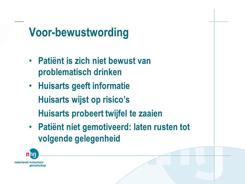 Voor-bewustwording Patiënt is zich niet bewust van problematisch drinken. Huisarts geeft informatie.