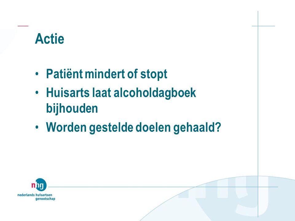 Actie Patiënt mindert of stopt Huisarts laat alcoholdagboek bijhouden