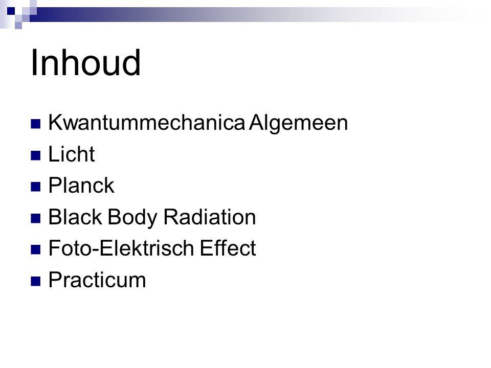 Inhoud Kwantummechanica Algemeen Licht Planck Black Body Radiation