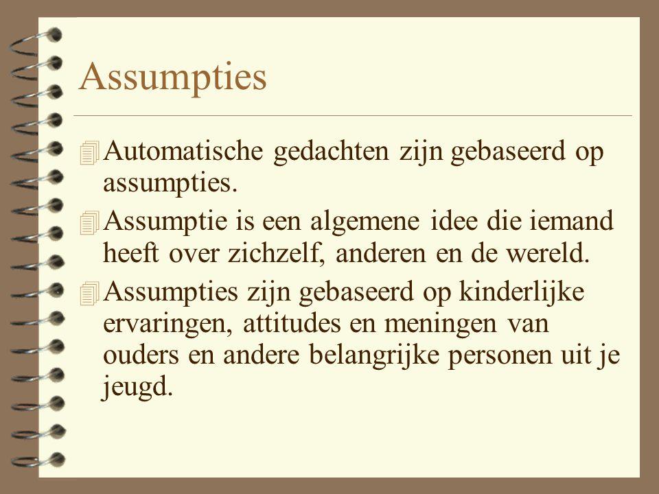 Assumpties Automatische gedachten zijn gebaseerd op assumpties.