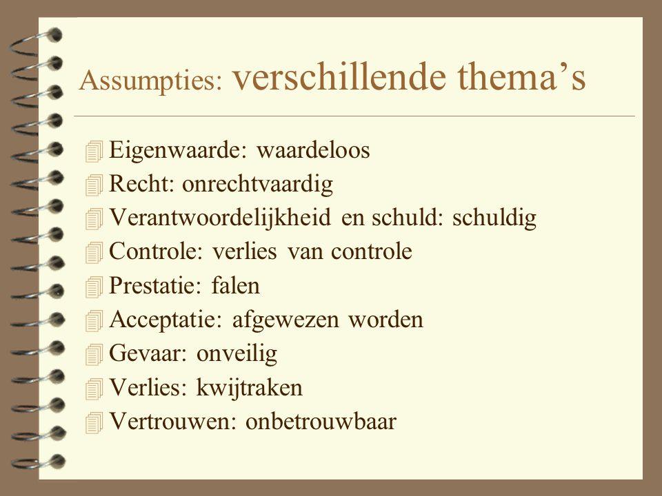 Assumpties: verschillende thema's
