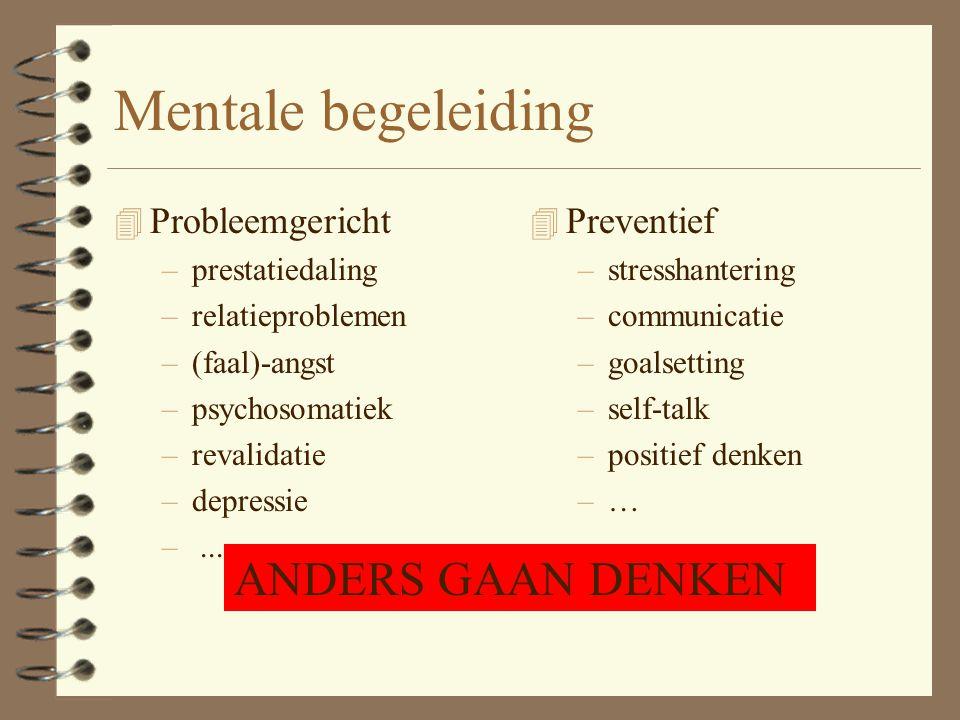 Mentale begeleiding ANDERS GAAN DENKEN Probleemgericht Preventief