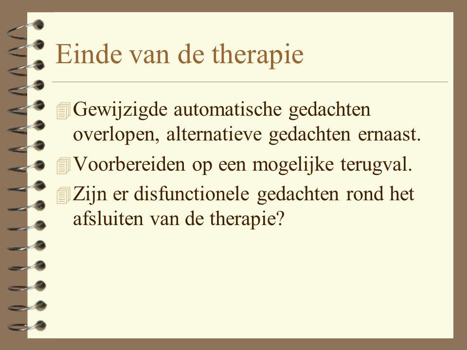 Einde van de therapie Gewijzigde automatische gedachten overlopen, alternatieve gedachten ernaast. Voorbereiden op een mogelijke terugval.
